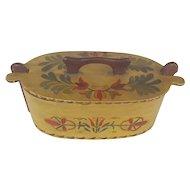 Vintage Scandinavian Folk Art Tine Box with Tole Painted Decoration