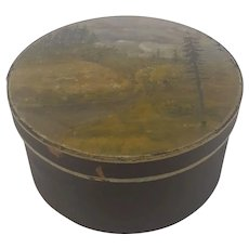 Antique Folk Art Pantry Box with Painted Scene Lid