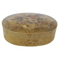 Vintage Hand-Painted Paper Mache Box with Floral Decoration