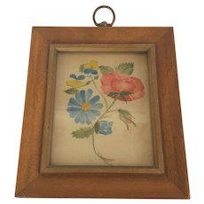 Diminutive Vintage Folk Art Floral Theorem Painting