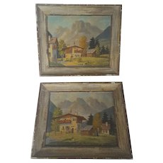 Pair of Vintage C. 1960 Folk Art Paintings of Rural Villages