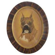 Vintage Folk Art Pastel Drawing of Boxer Dog in Oval Frame