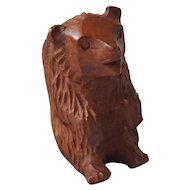 Vintage Hand Carved Folk Art Briarwood Bear Pipe