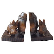 Pair Vintage Black Forest Folk Art Scottie Dog Bookends