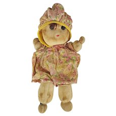 Adorable Vintage 1940's Primitive Folk Art Sock Doll