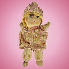 Adorable Vintage 1940's Primitive Folk Art Sock Doll