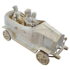 Vintage Folk Art Rolls Royce with Passengers, Dog From Prominent Collection