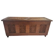 Antique Arts & Crafts Folk Art Carved Miniature Oak Coffer Chest