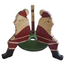 "Vintage Primitive Folk Art ""Sitting Santa"" Form Feather Christmas Tree Stand From My Collection"