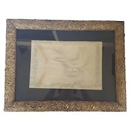19th C. Folk Art Signed & Dated 1880 2-Color Calligraphy Drawing of Bird, Ship & Sunset