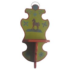 Vintage Naive Folk Art What-Not Shelf with Horse Design From My Collection