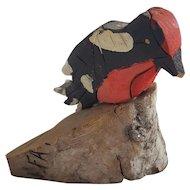Vintage Super Primitive Self-Taught Outsider Folk Art Signed Bird Carving #4