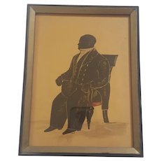 Antique Folk Art Hand Painted Silhouette of Large Man