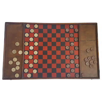 Antique Utah Folk Art Double-Sided Checkers Gameboard with Clay Checkers
