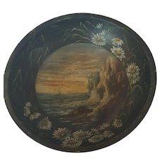 Early 1900's Folk Art Painted Dough Bowl With Coastal Scene & Daisies Border