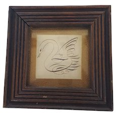 Diminutive Antique 19th C. Folk Art Calligraphy Swan Drawing from my Collection