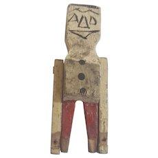 Tiny Vintage Hand Carved Primitive Folk Art Articulated Man Whimsy