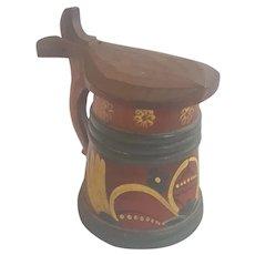 Vintage Norwegian Folk Art Wooden Tankard with Rosmaling