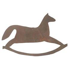 Vintage Primitive Folk Art Cut Sheet Iron Rocking Horse Quilt Template