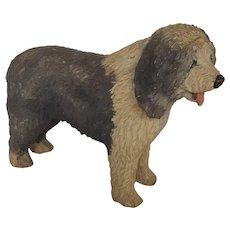 """Vintage 1970's Folk Art Large 10 1/2"""" Sheepdog Carving"""