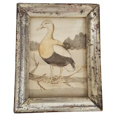 Antique Signed George Irving Parsons Dated 1902 Folk Art Miniature Duck Watercolor