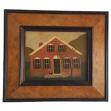 "Vintage Original ""Nancy Lubeck"" House with Cat Painting on Wood Panel in Original Frame"