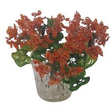 3 Stems of Vintage Handmade Folk Art Beaded Geranium Flowers