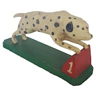Vintage Hand Carved & Painted Signed Folk Art Racing Dalmatian
