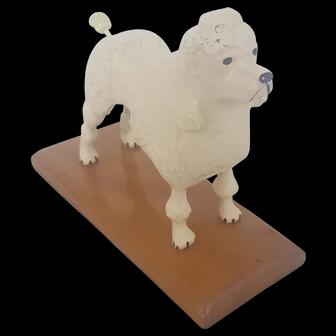 Vintage Folk Art Poodle Dog Carving