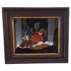 Antique Folk Art Fruit Basket Reverse Painting