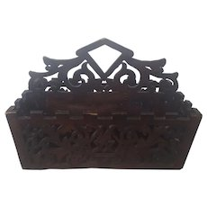Late 19th to Early 20th Folk Art Fretwork Cutlery or Candle Box