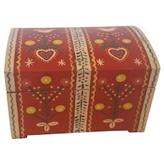 Vintage Folk Art Hand Painted Miniature Trunk with Flowers & Hearts