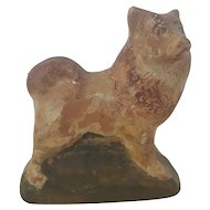 Rare Vintage Folk Art Redware Pottery Akita Dog from my Collection