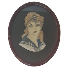 Vintage 1920's Folk Art Watercolor & Pencil Portrait of Young Woman in Nautical Attire
