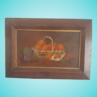 Antique Late 19th C. Folk Art Still Life Oil Painting of Oranges & Lilacs