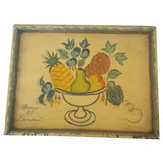 Vintage Dated '47 Hand Painted  Folk Art Fruit Compote Design Tray in the Manner of Peter Hunt