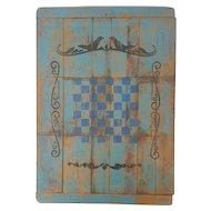 Vintage Folk Art Checkers Game Board with Bird Design