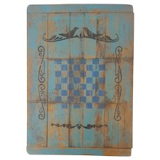 Vintage Folk Art Checkers Game Board with Bird Design