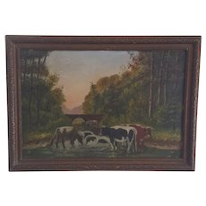 Vintage Signed PA. Folk Art Oil Painting of Cows in a Stream