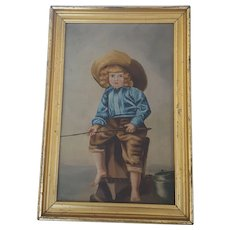 Antique Folk Art Oil on Painting of Young Boy Fishing in Gilt Frame