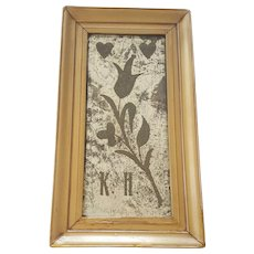 Rare 19th C. Folk Art Tulip & Hearts Design Etched Mirror Love Token