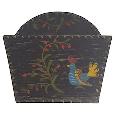 Vintage PA. Folk Art Wood Wall Pocket with Rooster & Cherry Tree Branch