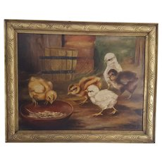 "Antique ""Thomas Knight"" Dtd. 1870 Folk Art Oil Painting of 5 Feeding Baby Chicks"