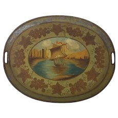 Vintage Folk Art Painted Metal Tray with Central Sailboat Design