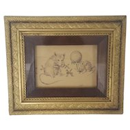 """Vintage Signed """"RHT"""" Pen & Ink Drawing of 2 Mice Playing Jacks"""
