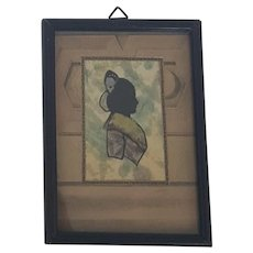 Unusual 19th C. Folk Art Mixed Media Silhouette of Victorian Woman