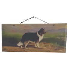 Early 1900's Signed Folk Art Painting of Collie Dog with Sheep on Wood Panel