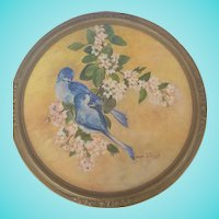 Vintage Signed 1971 Round Folk Art Painting of Bluebirds on Branch