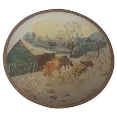 Early 1900's Folk Art Dough Bowl with Painted Farm Scene inc. Cows & Sheep