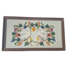 Vintage Folk Art Stumpwork Picture of 2 Doves Encircled with Grapevine